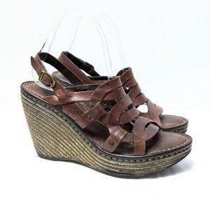 (BORN) Genesis Brown Leather Wedge Sandals 8